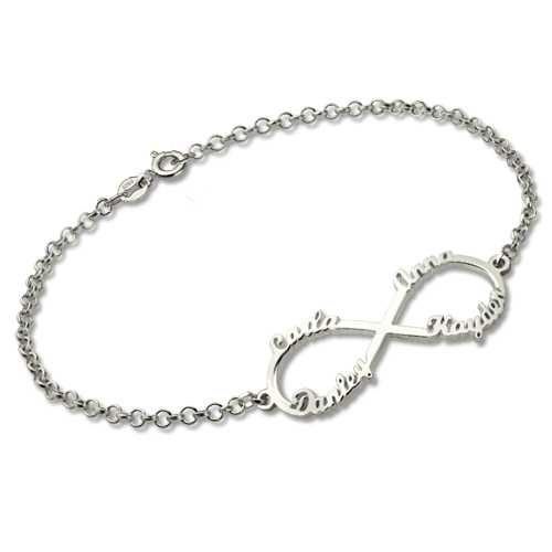 Infinity Four Names Bracelet In Sterling Silver