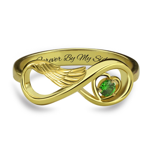 Angel Wing Infinity Ring - Gold Plated
