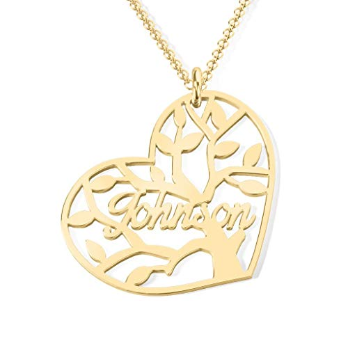 Heart Forever Name Necklace 18k Gold Plated