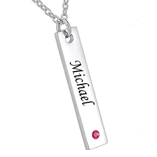 Engraved Vertical Bar Necklace Sterling Slver