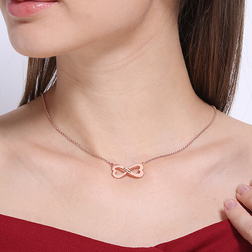 Infinity Heart-Shaped Necklace Rose Gold