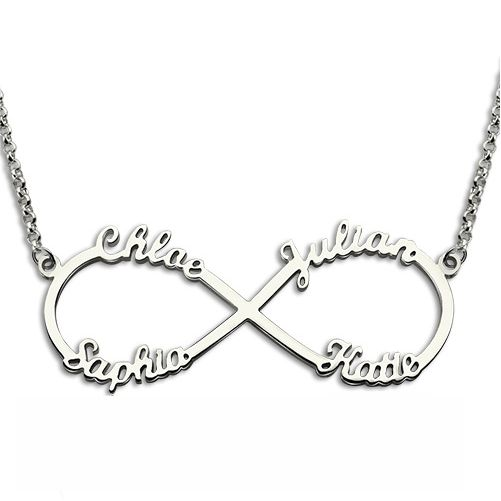 Personalized Moms Infinity Necklace 4 Names
