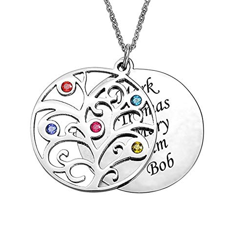 Engraved Personalized Family Tree Birthstone Necklace