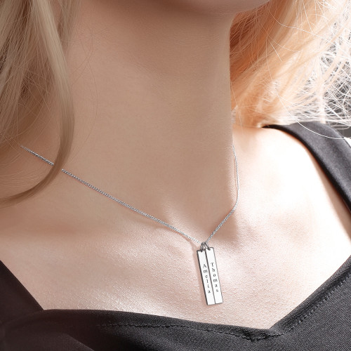 Engraved Bar Necklace Silver