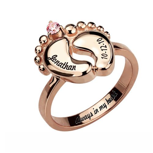 Baby Feet Ring with Birthstone In Rose Gold