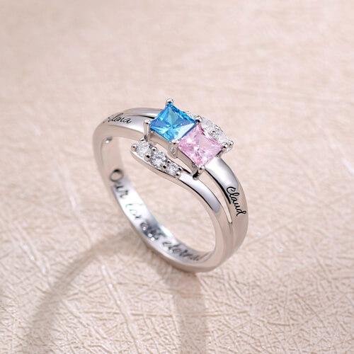 Custom Engraved Ring - Two Birthstones Sterling Silver
