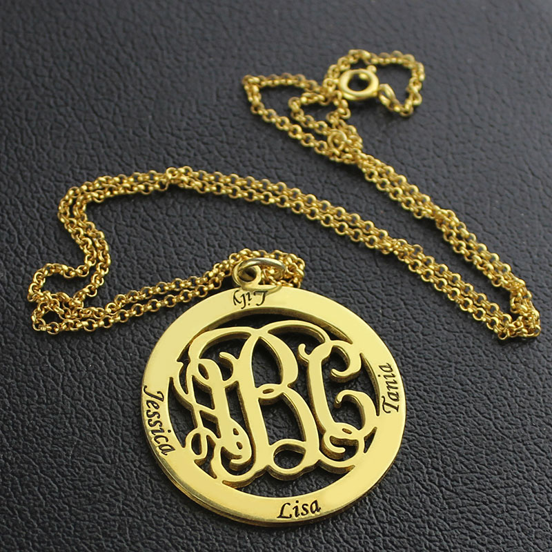Family Monogram Name Necklace 18K Gold Plated