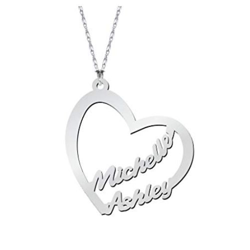 Heart Forever Name Necklace Sterling Silver