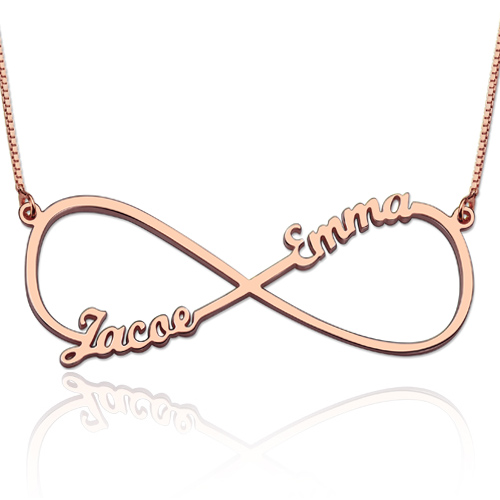 Infinity Necklace Two Names - Rose Gold