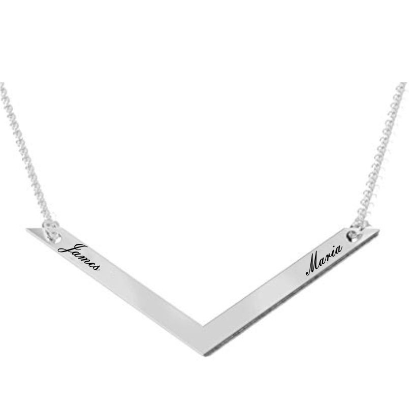 Curved Bar Name Pendant Sterling Silver
