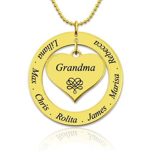 Mother/Grandma Heart Necklace