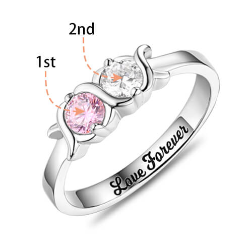 Engraved Birthstones Ring Sterling Silver