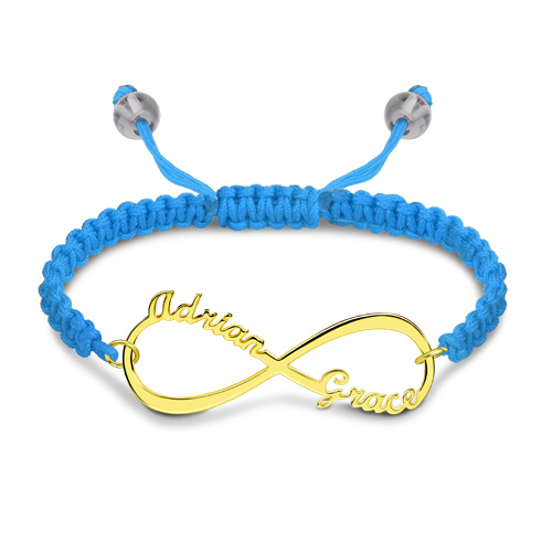 Infinity Two Names Cord Bracelet Gold Plated