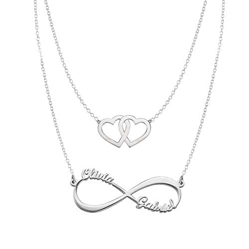 Hearts Infinity Necklaces Set For Her Sterling Silver