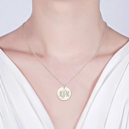 Engraved Disc Monogram Necklace Silver