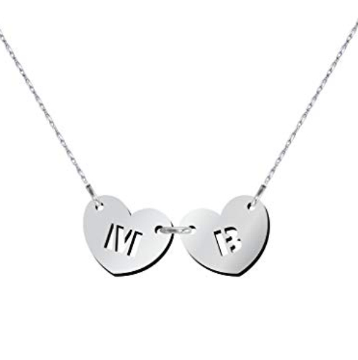 Initial Two Hearts Forever Necklace in Silver