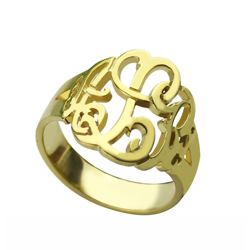Personalized Hand Drawing Monogrammed Ring