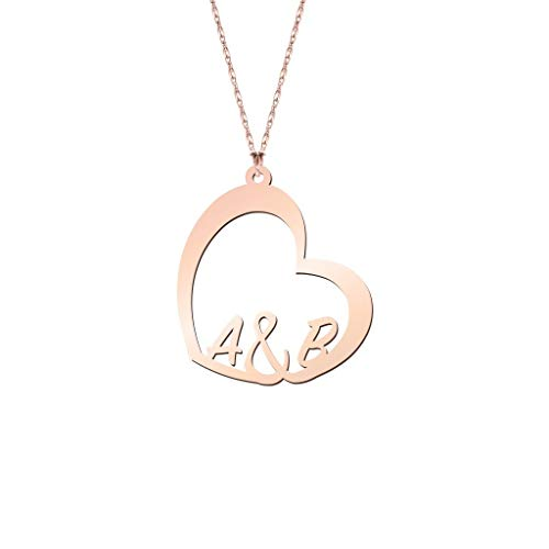Initial Heart Necklace Rose Gold Plated