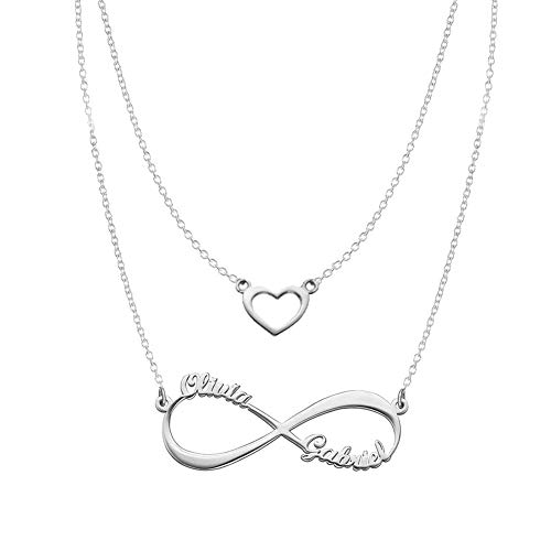 Heart Infinity Necklaces Set For Her Sterling Silver