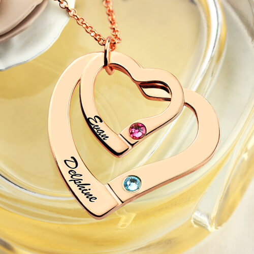 Two Hearts Necklace Rose Gold