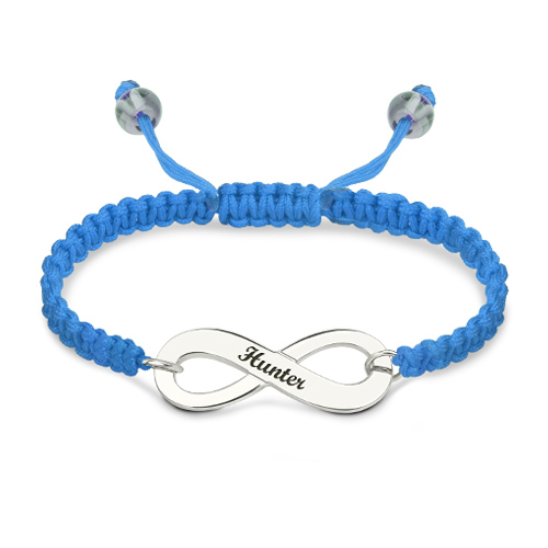 Infinity Symbol Cord Bracelet Sterling Silver