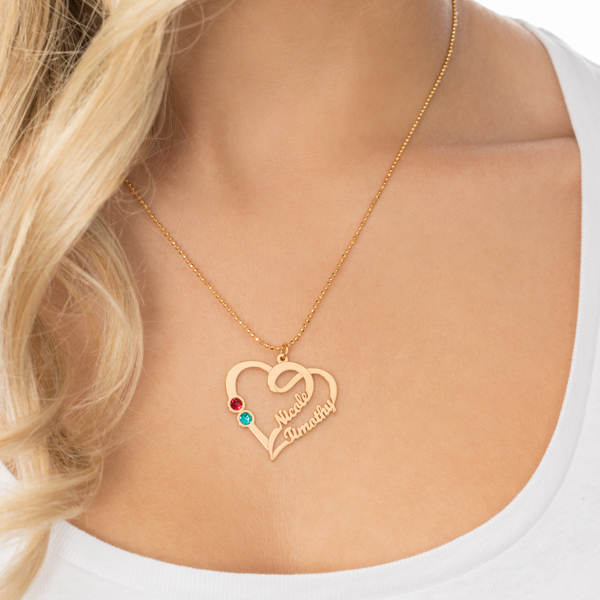 Couple Heart Necklace Gold Plated Silver