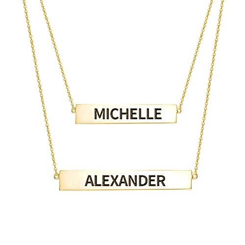 Engraved Name Bar Set Necklace Gold Plated