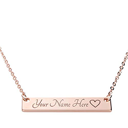 Bar Necklace Engraved Rose Gold Plated