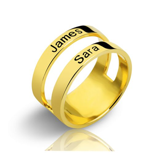 Mother's Engraved Two Names Ring Gold Plated
