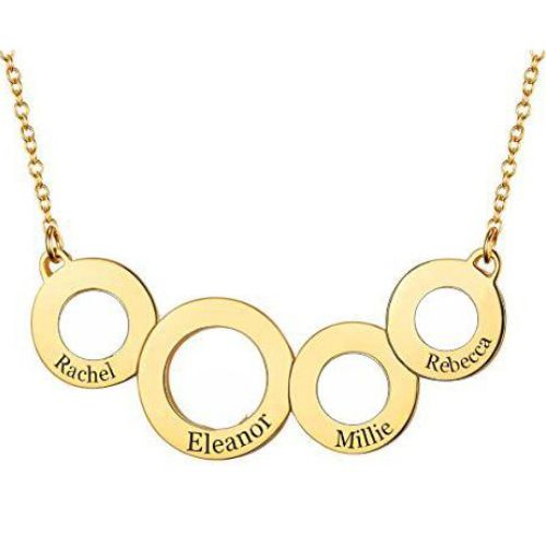 Engraved Circles Necklace 18k Gold Plated