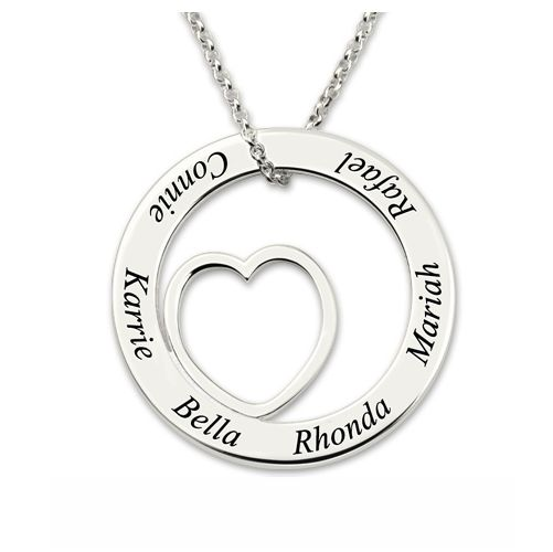 Engraved Love Name Necklace Sterling Silver