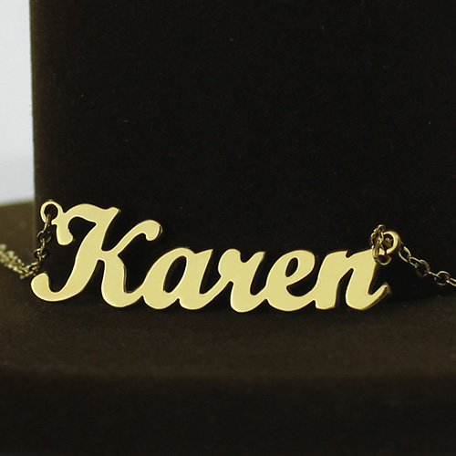Gold Plated Karen Style Name Necklace