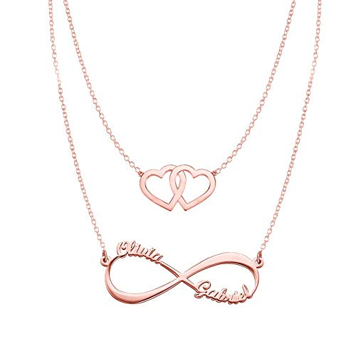 Hearts Infinity Necklaces Set For Her Rose Gold