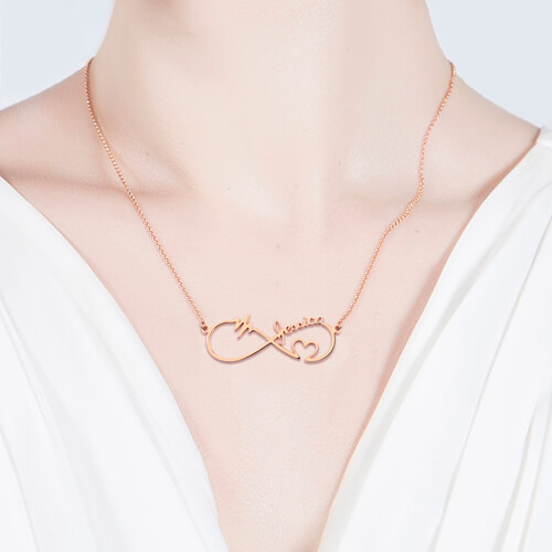 Infinity Heartbeat Necklace In Rose Gold