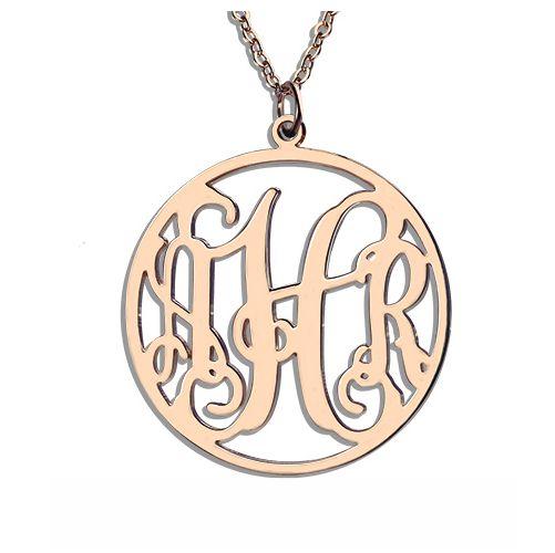 Circle Initial Monogram Necklace Rose Gold
