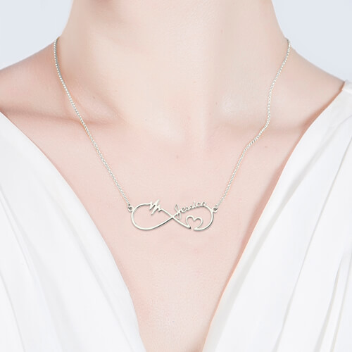 Infinity Heartbeat Necklace Sterling Silver