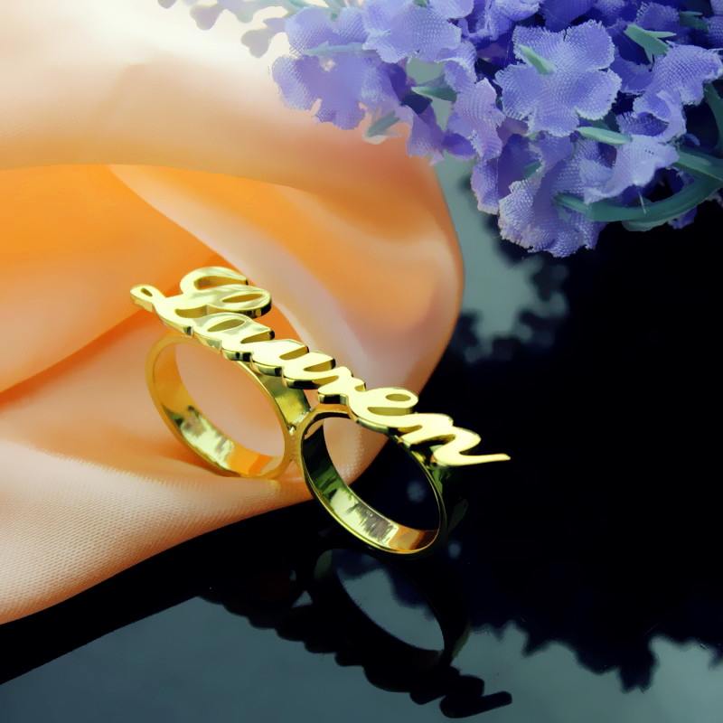 Allegro Two Finger Ring 18k Gold Plated