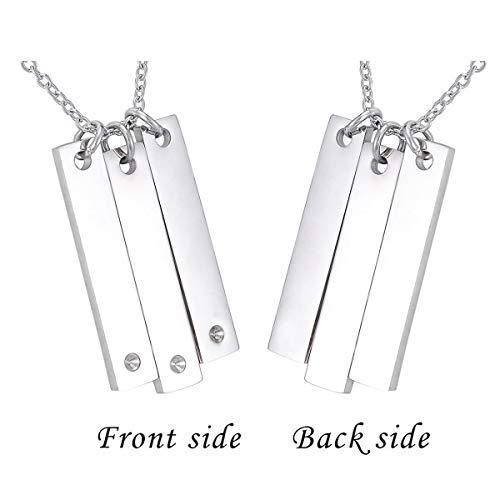 Vertical Sterling Silver Bar Necklace with Swarovski