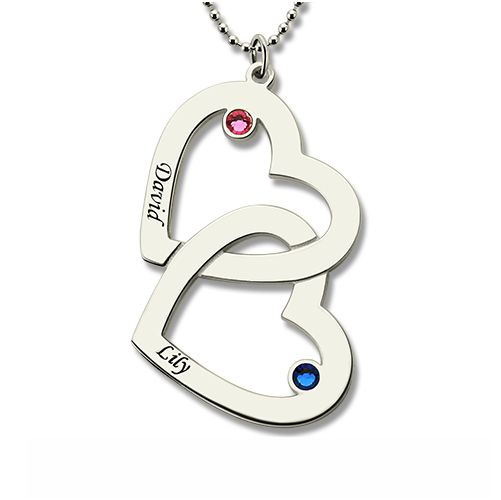 Double Heart Necklace with Name & Birthstones