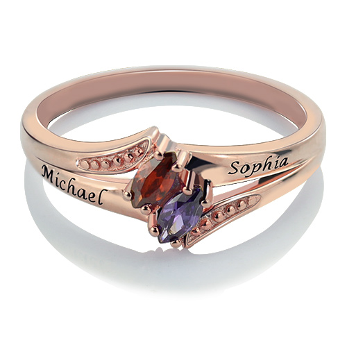 Engraved Birthstones Ring In Rose Gold