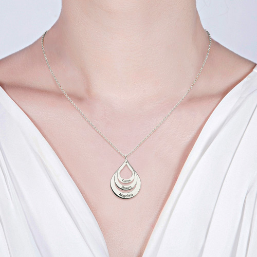 Engraved Drop Shaped Necklace Sterling Silver