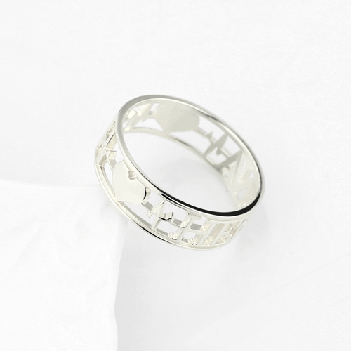Heartbeat Ring with Name for Her