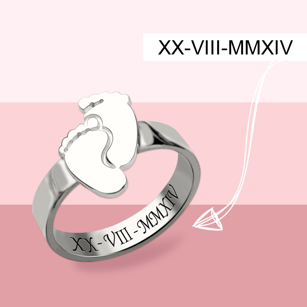 GiftNameNecklace - Engraved Baby Feet Ring For Mom Sterling Silver