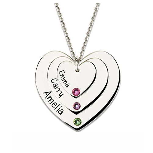 Triple Heart Necklace With Birthstones