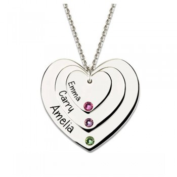 07114087f5 Triple Heart Necklace With Birthstones