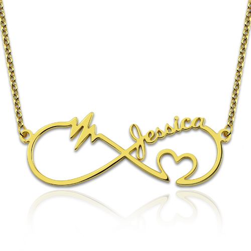 Infinity Heartbeat Necklace Gold Plated Silver