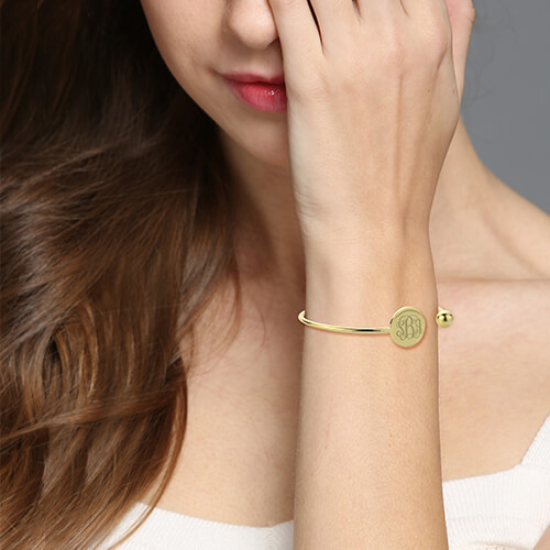 Disc Monogram Bangle Bracelet 18k Gold Plated