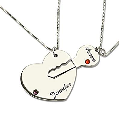 Engraved Breakable Heart Name Necklace for Couples Silver