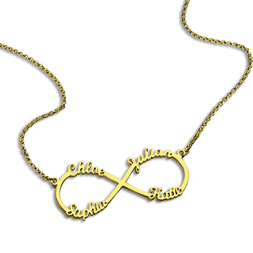 Infinity Necklace Four Names - Gold Plated
