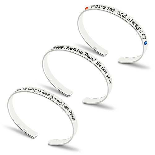 Engraved Bangle With Birthstones Silver